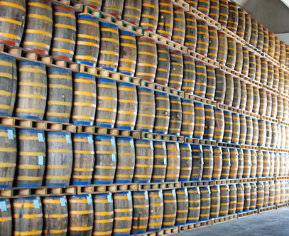 Barrels are color-coded by age